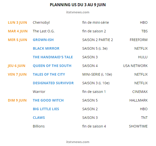 planning séries us 3 au 9 juin 2019